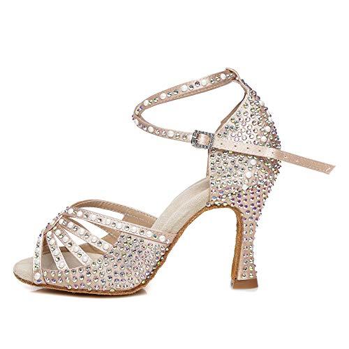 AOQUNFS Zapatos de Baile Latino Mujer Salsa Tacon Alto Zapatos de Baile Mujer Salsa y Bachata Económicos,YCL430-Beige-6,EU 37