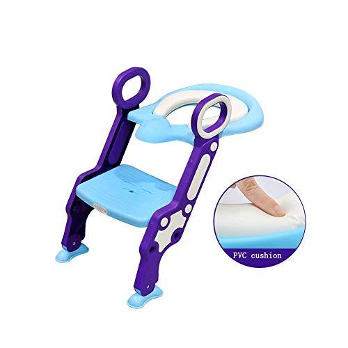 JIEER-C Ergonomische toiletbril, toiletbril, voor baby's, met ladder, comfortabel, antislip, opvouwbaar, gezond 12