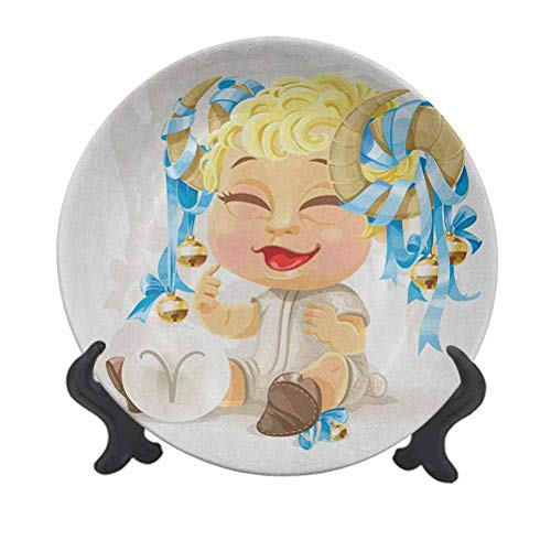 Zodiac Aries - Plato decorativo de cerámica (20,32 cm), diseño de bebé sonriente con campanas atadas a sus cuernos de nacimiento y futuro