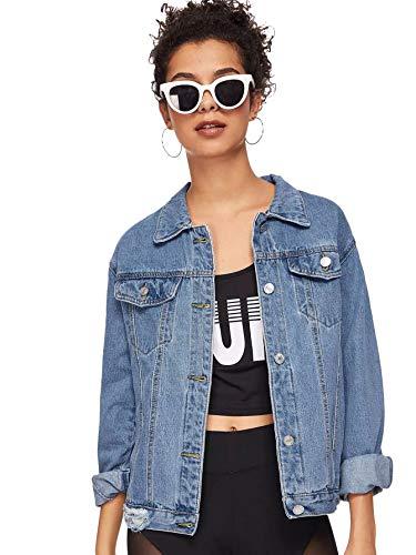 SweatyRocks Women's Casual Long Sleeve Button Down Boyfriend Denim Jacket Blue L