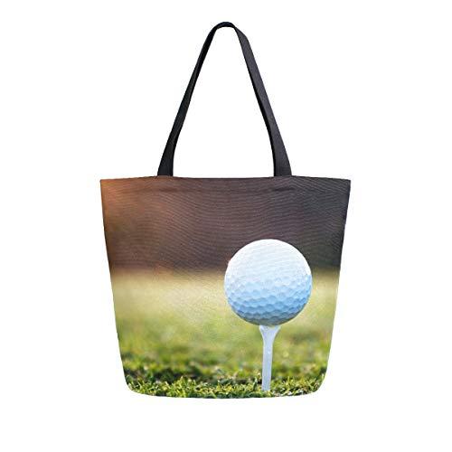 Hunihuni Canvas, Golftasche, für Damen, Mädchen, mit Sonnenuntergang, Gras, groß, wiederverwendbar, Einkaufstasche