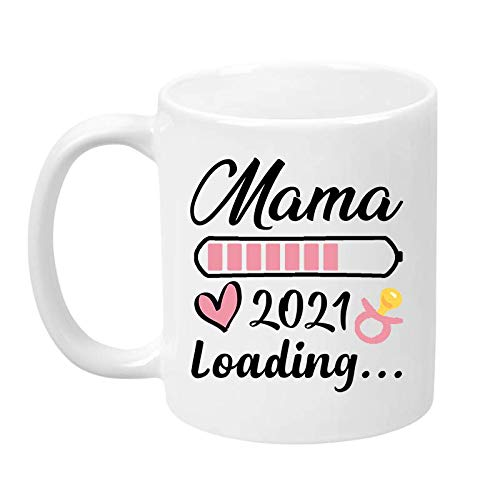 TassenTicker - Mama Loading 2021 - Impresión por ambos lados - Taza de café - Regalo - Mamá - Embarazo - Bebé - Taza de regalo (blanco)