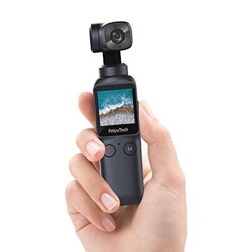 Feiyu Pocket - Handheld-Gimbal mit Kamera, Videoaufnahmen in 4K@60FPS und bis zu 120 MBit/s, 115 Gramm leicht, IPS-Touchscreen, Akkulaufzeit bis 4,5h, 6-Achsen-Hybrid-Stabilisierung