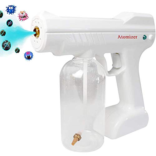 Disinfectant Mist Gun, Handheld Rechargeable Nano Atomizer 27oz Large Capacity Electric Sprayer Nozzle Adjustable Fogger for Home, Office, School or Garden