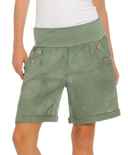 Mississhop 280 Damen Leinenshorts Bermuda lockere Kurze Hose Freizeithose 100% Leinen Shorts mit DREI Knöpfen Sommer Strand Oliv L