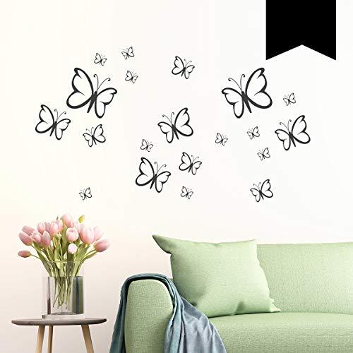 Wandkings Wandtattoo Schmetterlinge im Set, 20 Stück in schwarz - erhältlich in 33 Farben