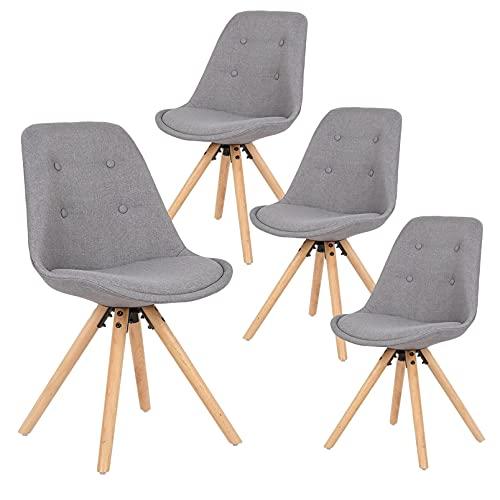 Homeland 4 unids/set moderno lino comedor sillas desayuno patas de madera maciza sillas cocina taburetes con respaldo suave acolchado asiento para comedor