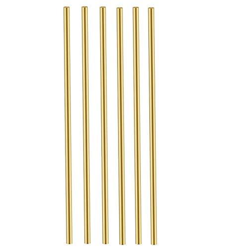 Comonc 6 Pcs 4mm Brass Rods 5/32 Brass Round Rod Brass Round Stock Brass Solid Round Rod Lathe Bar Stock 4mm/5/32 Inch in Diameter 12 Inch in Length,C27400