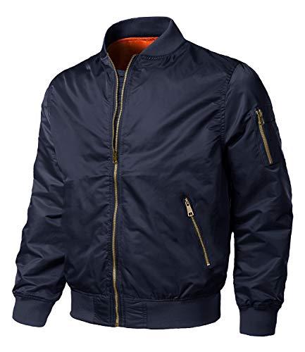 EKLENTSON Men's Jackets Windproof Bomber Jacket Full Zip Warm Padded Coats Navy