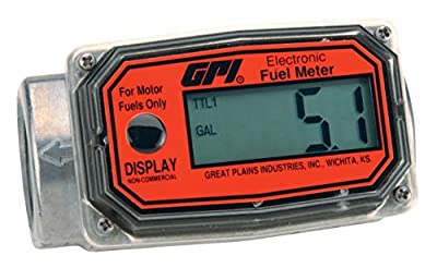 GPI 113255-1, 01A31GM Aluminum Turbine Fuel Flowmeter with Digital LCD Display, 3-30 GPM, 1-Inch FNPT Inlet/Outlet, 0.75-Inch Reducer Bushings, ±5% Accuracy