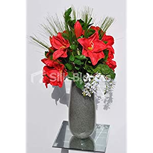 Silk Blooms Ltd Artificial Bright Red Amaryllis and Pixie Orchid Floral Arrangement w/Foliage and Needle Grass