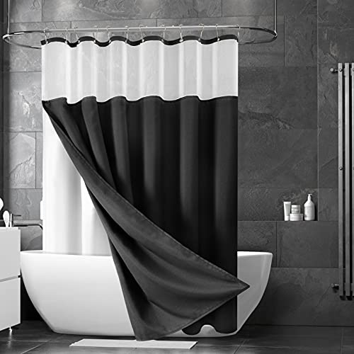 Black Shower Curtain with Snap in Liner Set, Polyester Shower Curtains for Bathroom,Waterproof Shower Curtain with 12 Hooks, Machine Washable, Heavyweight Fabric & Mesh Top Window 72 X 72 Inches