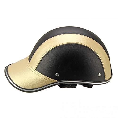 Mdder Mezzo casco da baseball berretto da baseball casco facciale bicicletta elettrica scooter UV cap berretto parasole regolabile sottogola - Oro