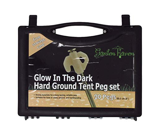 Garden Haven (TM) Set of 20 Heavy Duty Steel Hard Ground Tent Awning Camping 8 Inch Rock Pegs with Luminous Glow-in-the-dark Heads in Plastic Case and Tent Peg Puller 1