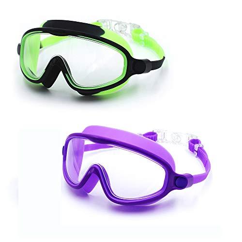 RUIXIAO Kinder-Schwimmbrille, große Feld-Weitsicht Klare Sichtscheibe Taucherbrille Anti-Fog Keiner Undichte Schwimmbrille für Kinder und Früh Teen 3-15,Kl3