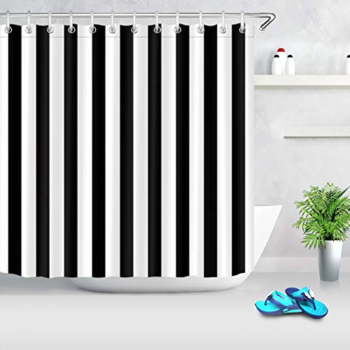 LB Black and White Shower Curtain,Striped Bathroom Curtain,72x72 inch Waterproof Polyester Fabric,Fashion Bath Decor,Ring Hooks Included