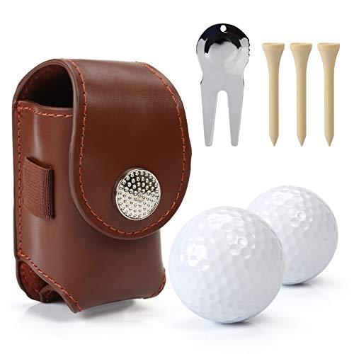 Fontien Golfball Tasche mit Golfbälle Golftees Pitchgabel mit Magnetballmarker, Braun (MEHRWEG)