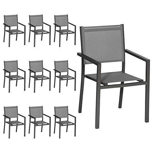 Happy Garden Lot de 10 chaises en Aluminium Anthracite - textilène Gris