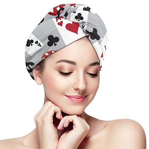RTBB Poker Casino Währung Super saugfähige trockene Haarhaube Anti Frizz Haar Handtuch schnell trocknende Handtücher für Damen und Mädchen Bad Spa