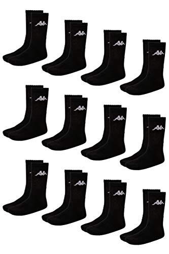 Kappa VEGRIT Sportsocken Unisex | perfekt auch als Wandersocken | Damen- & Herren Socken für Sport & Freizeit | atmungsaktiver Baumwoll-Polyester-Elasthan Mix | 12er Pack, schwarz, Größe 43-46