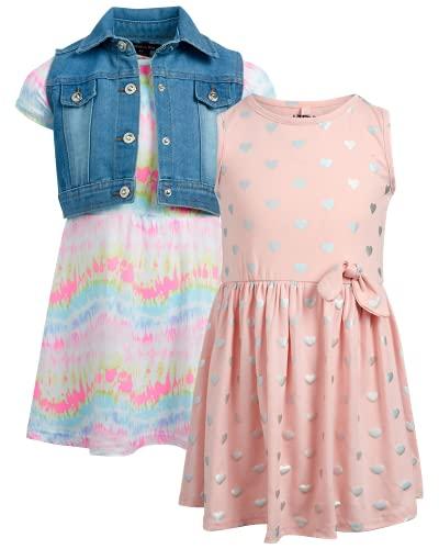제한된 너무 아기 소녀 드레스 세트 - 3피스 플레이웨어 드레스 및 데님 베스트(토들러)