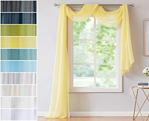 Red Co. Semi Sheer Yellow Window Scarf, 54 by 144 Inches Long, Decorative Curtain Accent Window Valance