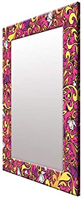 999Store Printed Purple Floral Art Pattern Mirror