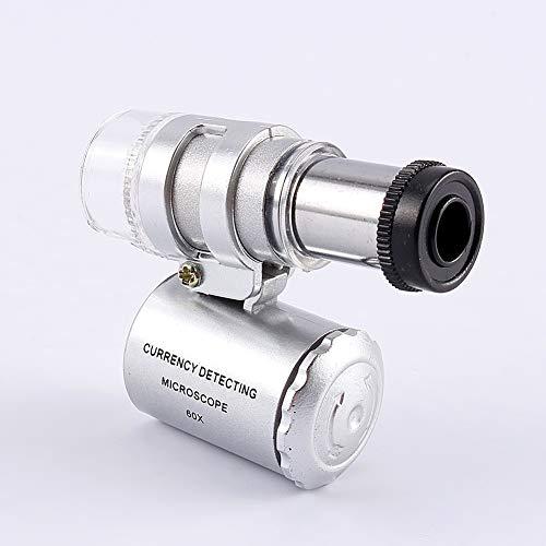 Schmucklupe - Mini 60X Taschenmikroskop Schmucklupe Lupe Glas LED UV-Licht