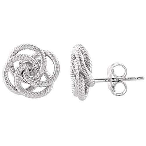 14K White Gold Twisted Love Knot Stud Rope Earrings, 11mm