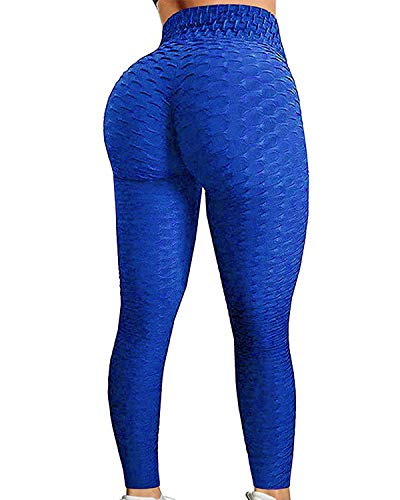 FITTOO Women's High Waist Yoga Pants Tummy Control Scrunched Booty Leggings Workout Running Butt Lift Textured Tights Peach Butt Blue(S)