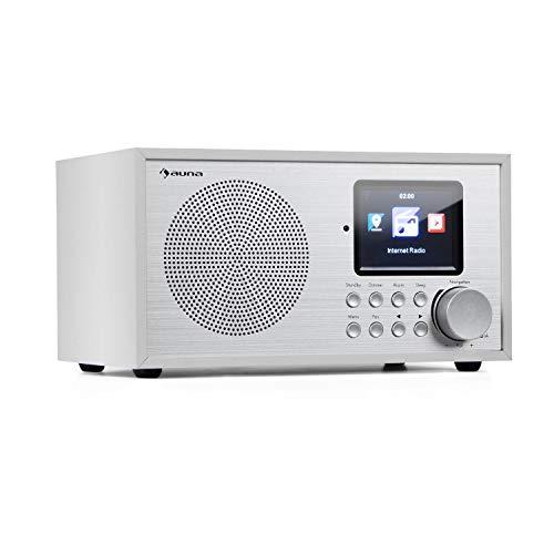 auna Silver Star Mini - Radio con Internet, Bluetooth, Sintonizador Dab+/FM, Wi-fi, USB, Entrada AUX, Potencia de 8 W, Pantalla HCC 2,8' (7 cm), Despertador, Control por App, Mando a distancia, Blanco