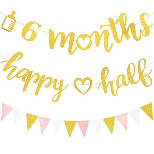 3 Stücke 6 Monate Banner Dekoration Happy Half Girlande und Glitter Pennant Banner für Halbes Jahr Geburtstag Baby Shower Party Dekoration Zubehör (nicht Vorbespannt)