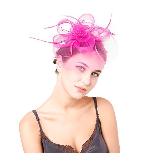 iKulilky Fascinators sombrero de mujer flores novia pluma sombrero horquilla diadema diadema diadema diadema diadema diadema para mujer iglesia bodas cócteles club Rosa rojo. tamaño único