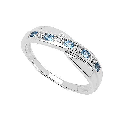 La Colección Anillo Diamante: Anillo de Topacio con set de Diamantes en Plata de ley...
