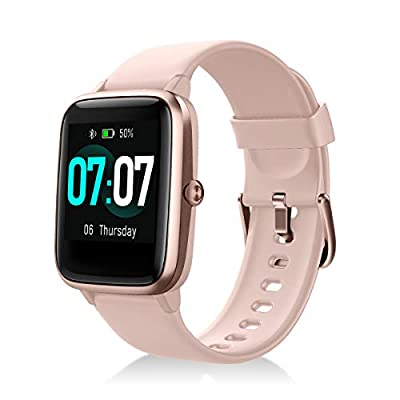 YAGALA Smart Watch, Fitness Tracker with Heart Rate Monitor Sleep Monitor & 1.3 Inch Color Touch Screen, IP68 Waterproof Step Counter for Women and Men, Compatible with iOS & Android (Pink)