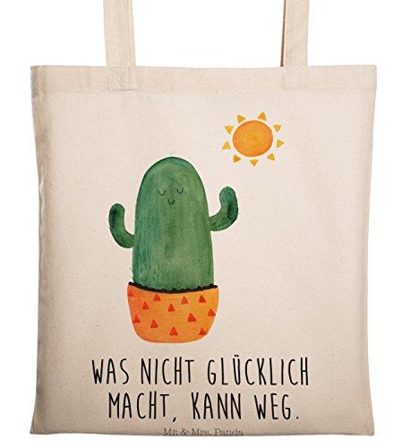 Mr. & Mrs. Panda Umhängetasche, Jutebeutel, Tragetasche Kaktus Sonnenanbeter mit Spruch - Farbe Transparent