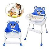 Kinder hochstuhl Baby, 4 in1 Kinderhochstuhl Baby Essstuhl Sitzerhöhung Treppenhochstuhl Klappbar mit Tablett Höhenverstellbar (Blau)