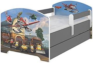 Original Disneys barnsäng med fallskydd, låda och madrass 70 x 140 flygplan.