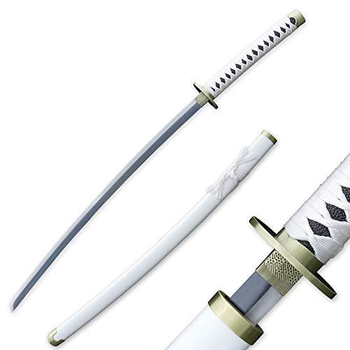 RENGENG Cosplay Anime Roronoa Zoro Wado Ichimonji Katana Samurai Sword, Carbon Steel, White