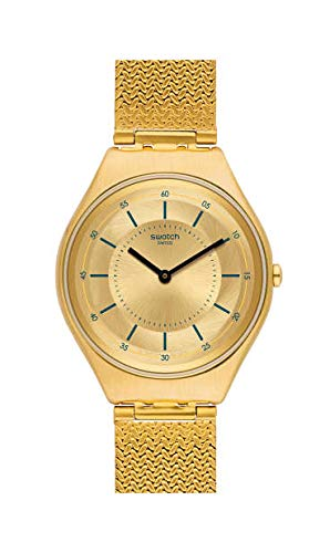 Swatch Unisex Erwachsene Analog Quarz Uhr mit Edelstahl Armband SYXG102M