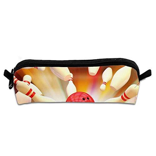Rote Bowlingkugeln Hit Student Federmäppchen Federmäppchen Reißverschluss Schreibwaren Beutel kleine kosmetische Make-up Tasche für die Schule Arbeit Büro