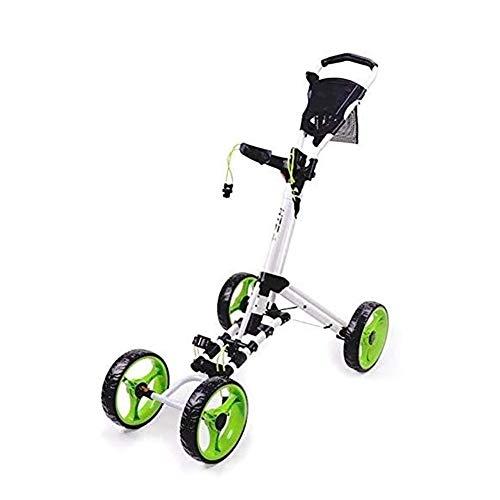 Golftrolley Golfwagen 4 Wheel Golf Push Cart Folding- Golf Pull Trolley mit Getränkehalter Anzeiger Tasche, Leicht Push-Pull-Golf Cart leicht zu öffnen