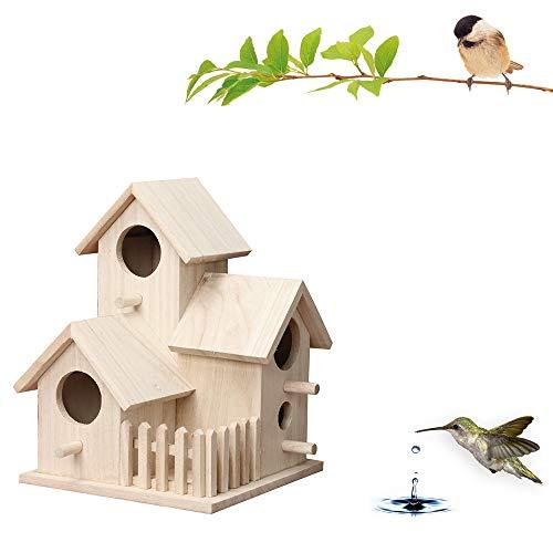 Binggong Nesträubersicherer Stabiler Nistkasten Vogelhaus Nisthaus Brutraum mit Balkon Dekorativer Vogelhaus Nistkasten für Wildvögel,Vogelhäuschen aus Holz (B)