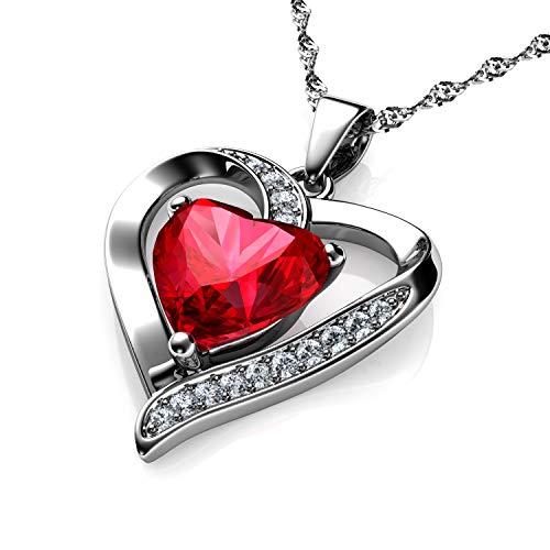 DEPHINI - Collar de corazón rojo - Plata de ley 925 - Piedra de nacimiento de Siam claro adornado con colgante de cristal - Collar de mujer de joyería fina chapado en rodio cadena de plata