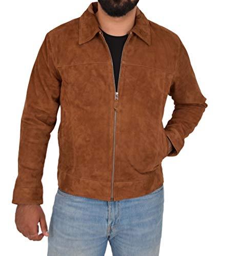A1 FASHION GOODS Exklusiv Echt Weiches Hellbraun Wildleder Reißverschluss Jaspis Blouson Jacke für Männer - Baxter (M - EU 48)