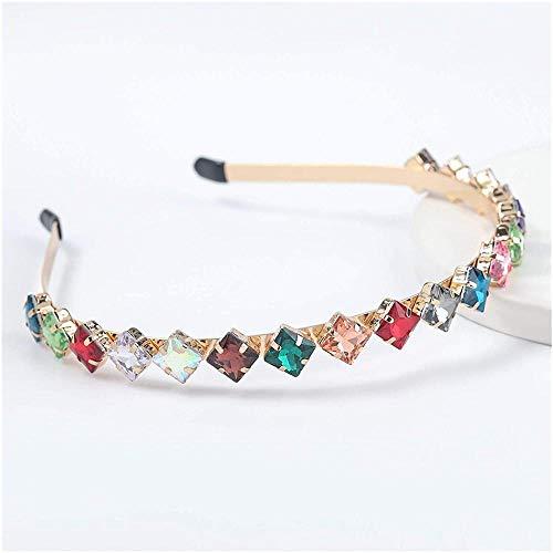 ZSW Diadema cuadrada con incrustaciones de aleación, accesorios para el cabello para mujeres y niñas, color metálico: Eh13054bs)-Eh13054cs