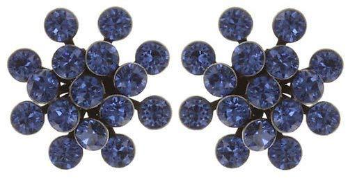 KONPLOTT Magic Fireball Classic Ohrstecker für Damen | Exklusive Designer-Ohrringe mit 32 Swarovski Steinen | Glamouröser Ohrschmuck zu jedem Anlass | Handgefertigter Damen-Schmuck | Saphirblau