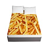Fitted Sheets for Twin Full Queen King Bed, Chickwin Food Hamburger Fries Printing Bedding Sheets Deep Pocket 30cm - Soft Microfibre Shrinkage Fade Resistant Easy Care (French Fries,140x200x30cm)