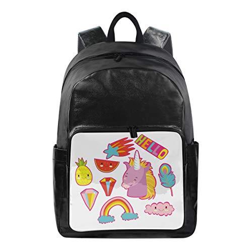 FANTAZIO Mochilas Hello Unicorn mochila escolar de lona con cremallera