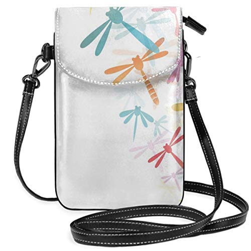 Women Small Cell Phone Purse Crossbody,Silhouette Of Flying Winged Insects Bugs Nature Pattern In Several Tones Artwork